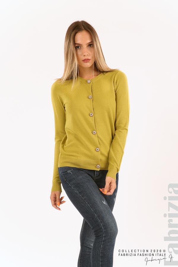 Плетена жилетка с украсителни копчета зелен 1 fabrizia