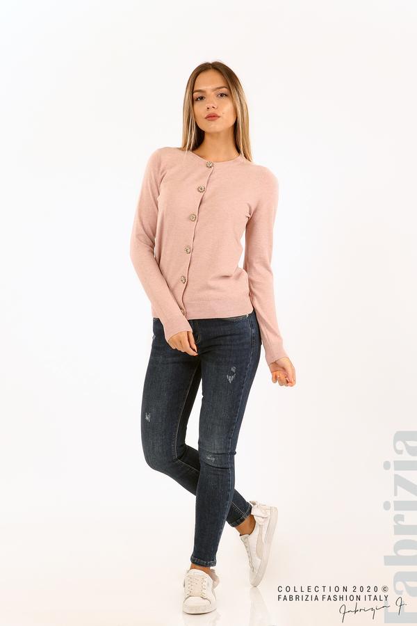 Плетена жилетка с украсителни копчета розов 3 fabrizia