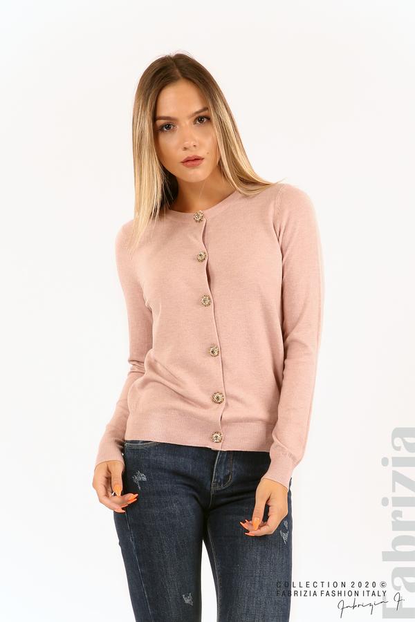 Плетена жилетка с украсителни копчета розов 1 fabrizia