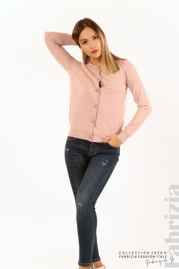 Плетена жилетка с украсителни копчета розов 4 fabrizia