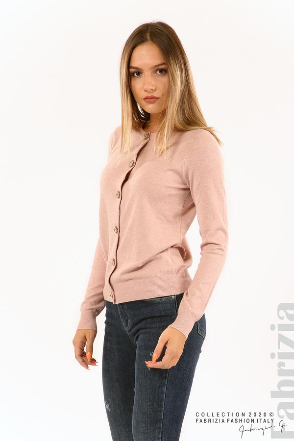 Плетена жилетка с украсителни копчета розов 2 fabrizia