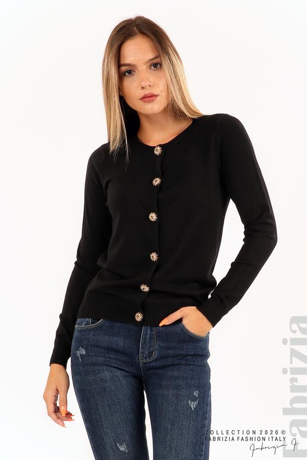 Плетена жилетка с украсителни копчета черен 2 fabrizia