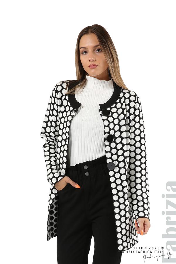 Дълга жилетка на точки-черен/бял-1