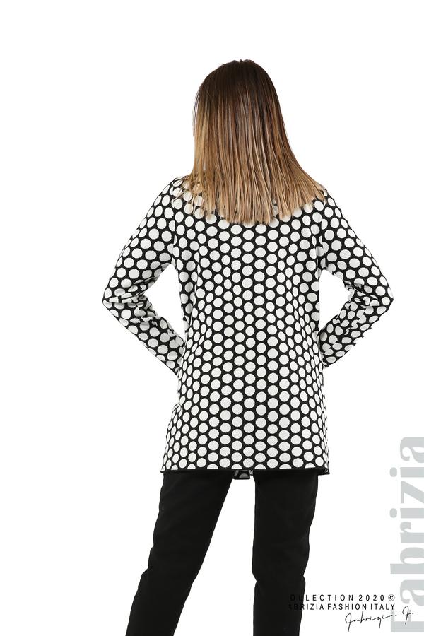Дълга жилетка на точки-черен/бял-6