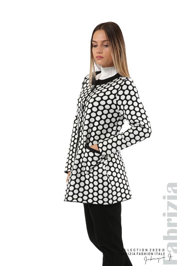 Дълга жилетка на точки-черен/бял-5