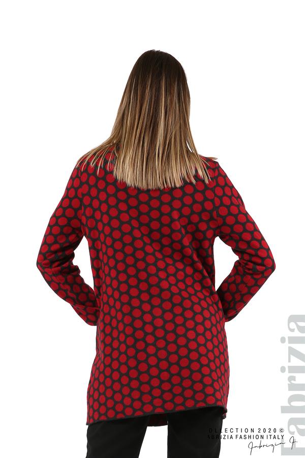 Дълга жилетка на точки-т.сив/червен-6