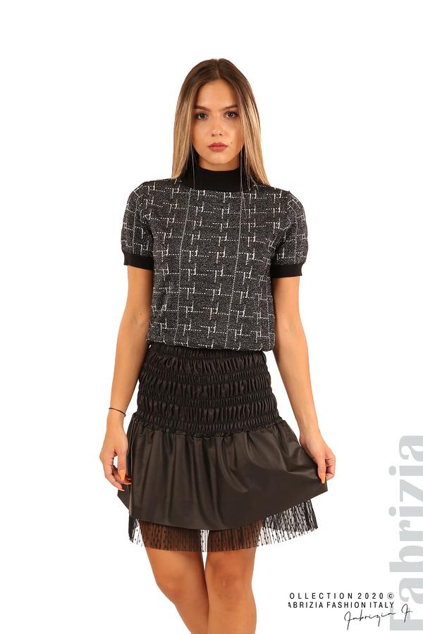 Блуза с фигурални елементи и ламе-черен-4