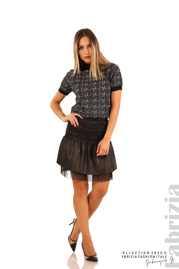 Блуза с фигурални елементи и ламе-черен-3