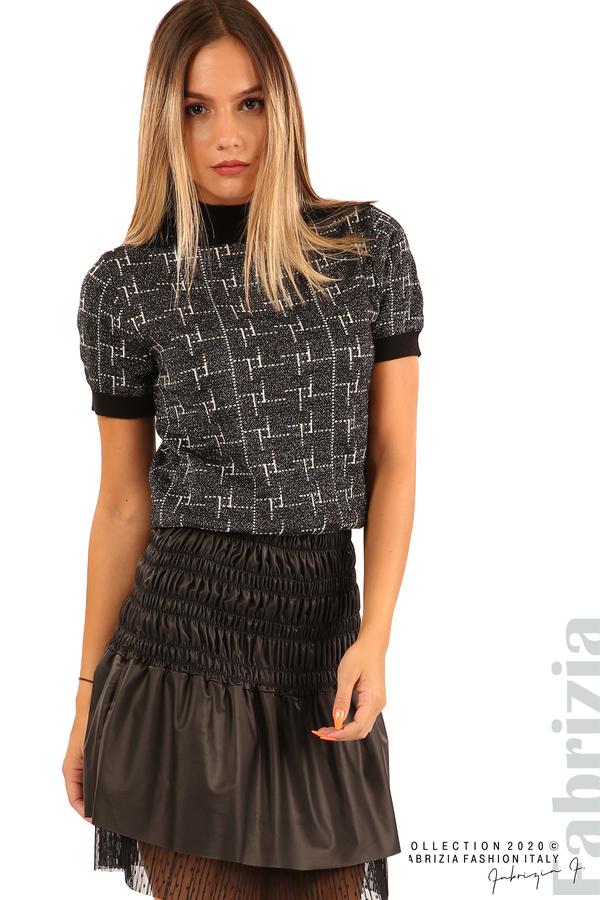 Блуза с фигурални елементи и ламе-черен-2