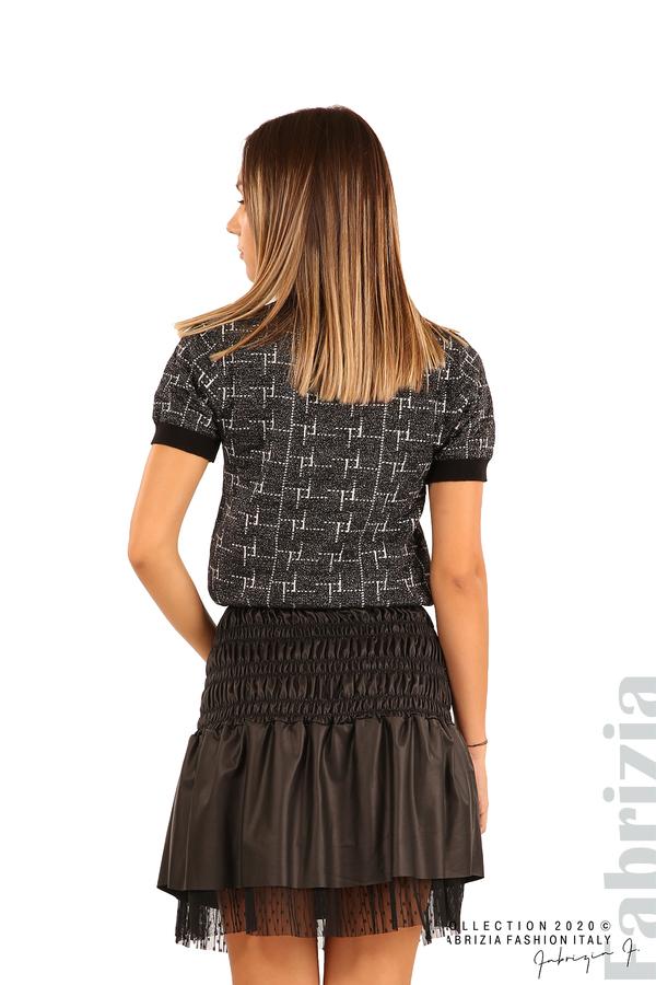 Блуза с фигурални елементи и ламе-черен-6