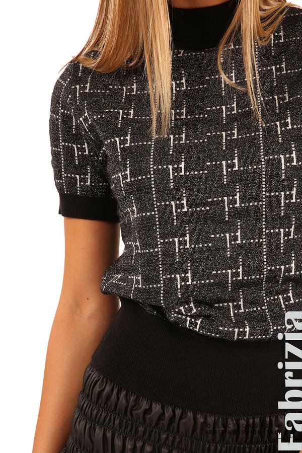 Блуза с фигурални елементи и ламе-черен-5