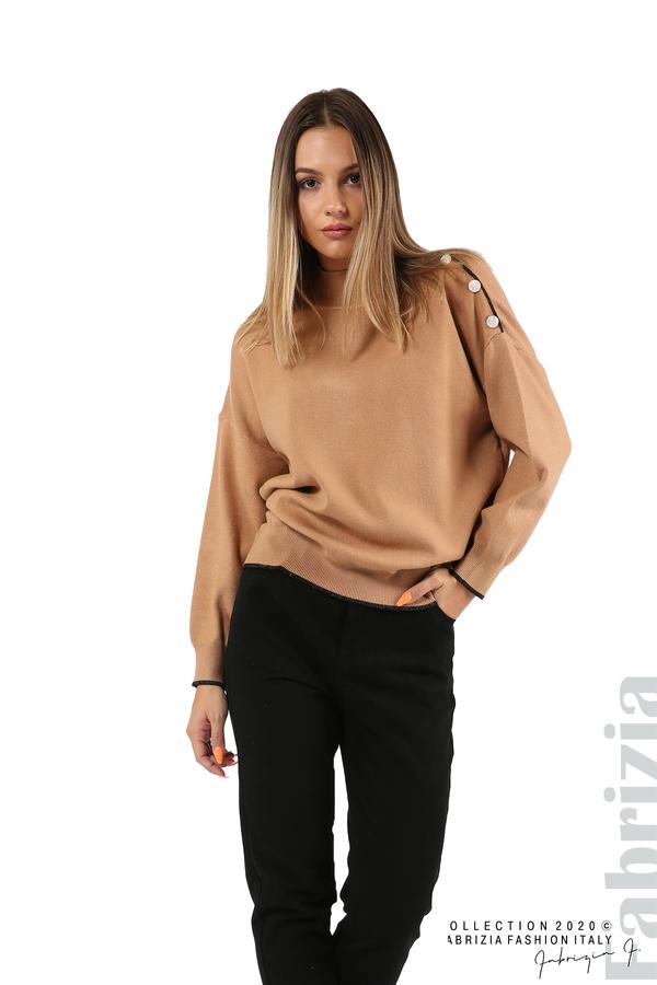 Блуза с акцент на рамото камел 1 fabrizia