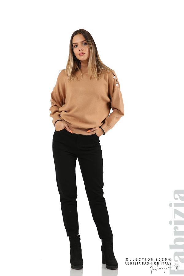 Блуза с акцент на рамото камел 3 fabrizia