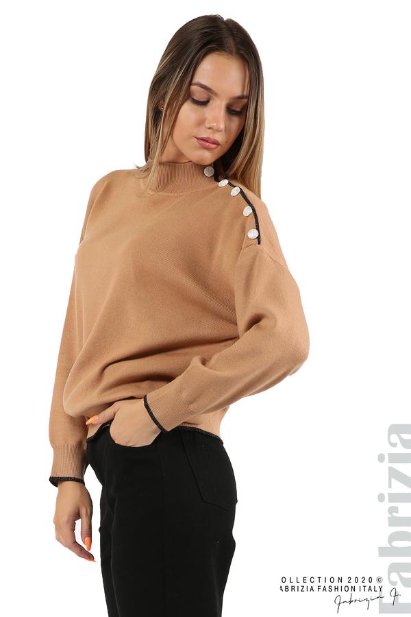 Блуза с акцент на рамото камел 4 fabrizia