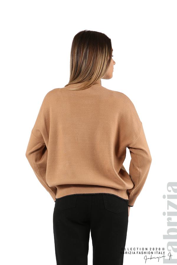 Блуза с акцент на рамото камел 6 fabrizia