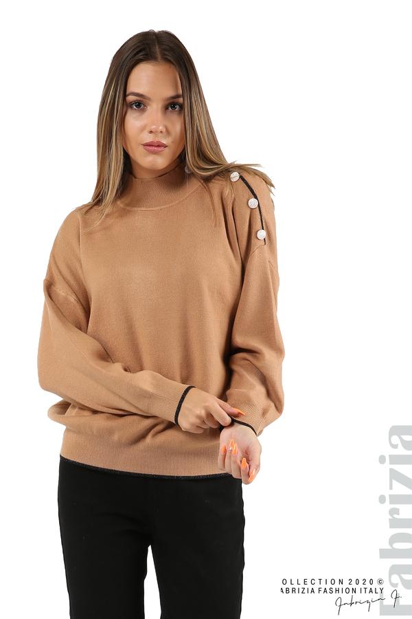 Блуза с акцент на рамото камел 2 fabrizia