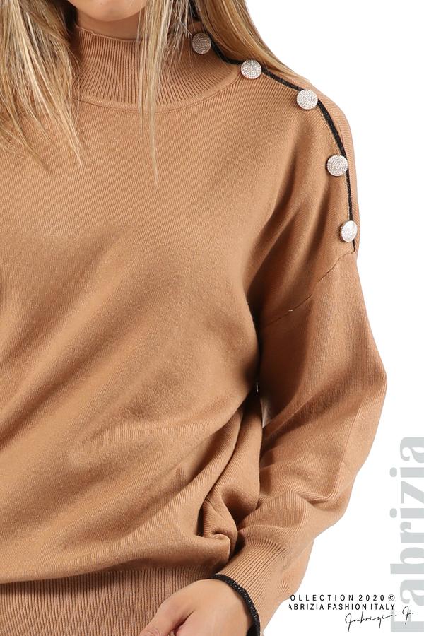 Блуза с акцент на рамото камел 5 fabrizia