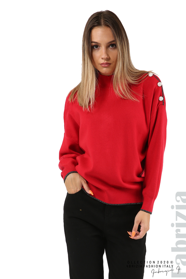 Блуза с акцент на рамото червен 4 fabrizia