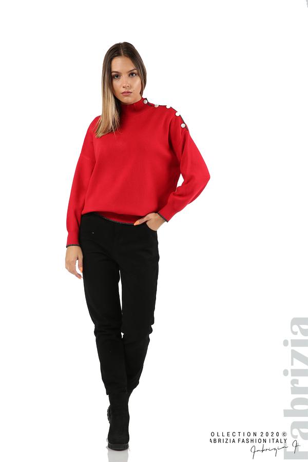 Блуза с акцент на рамото червен 3 fabrizia