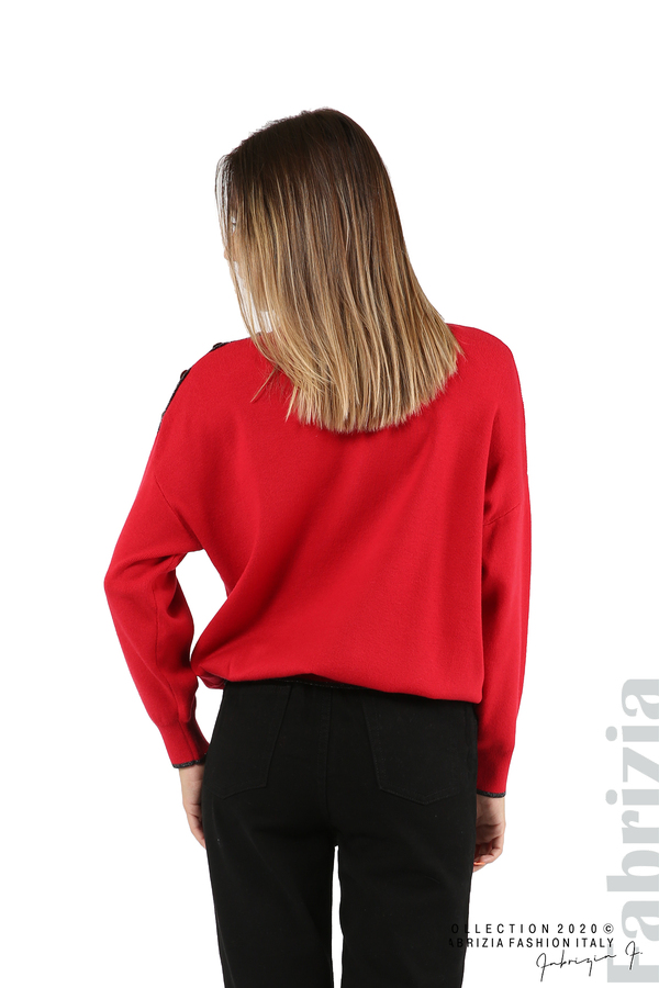 Блуза с акцент на рамото червен 6 fabrizia