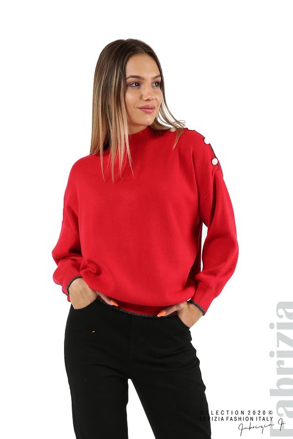 Блуза с акцент на рамото червен 1 fabrizia