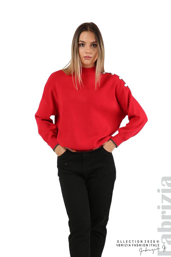 Блуза с акцент на рамото червен 5 fabrizia