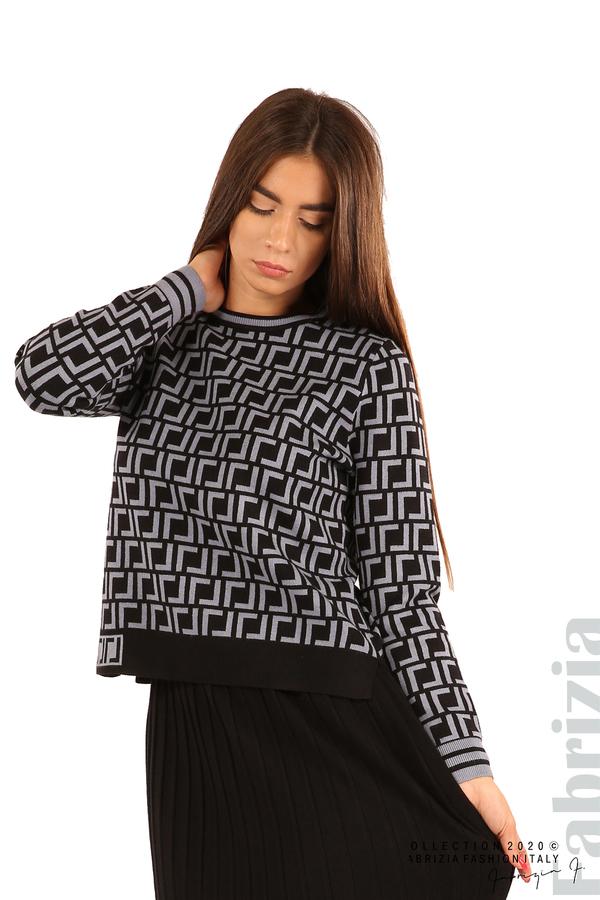 Комплект от фигурална блуза и плисирана пола-черен/св.син-1