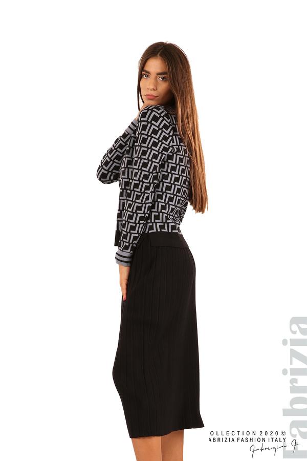 Комплект от фигурална блуза и плисирана пола-черен/св.син-2