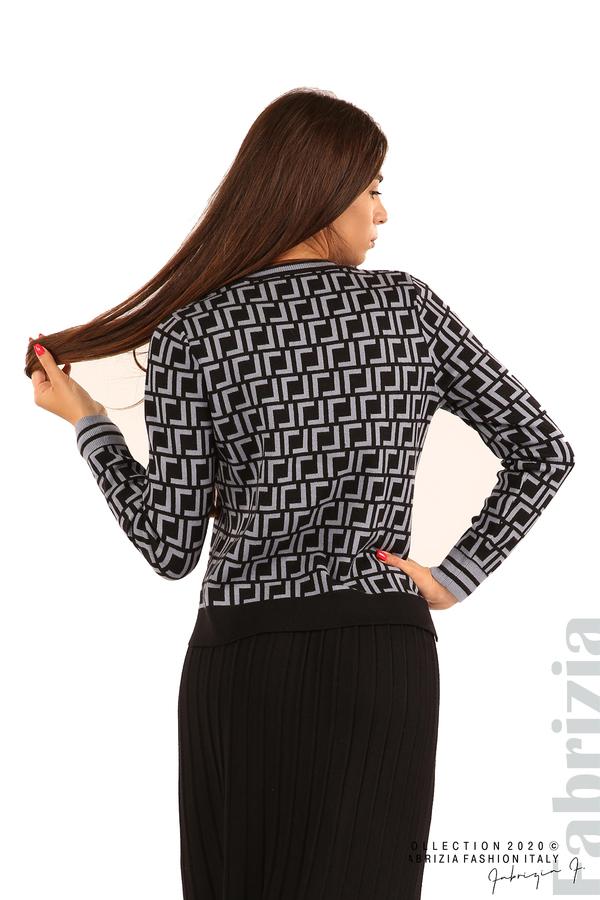 Комплект от фигурална блуза и плисирана пола-черен/св.син-6