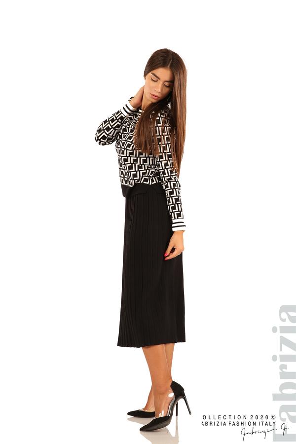 Комплект от фигурална блуза и плисирана пола-черен/бял-3