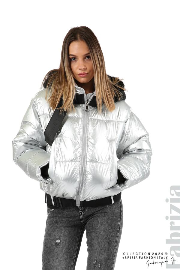 Лъскаво яке с качулка сребрист 1 fabrizia