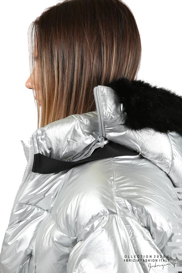 Лъскаво яке с качулка сребрист 5 fabrizia