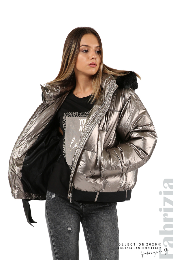 Лъскаво яке с качулка бронз 1 fabrizia