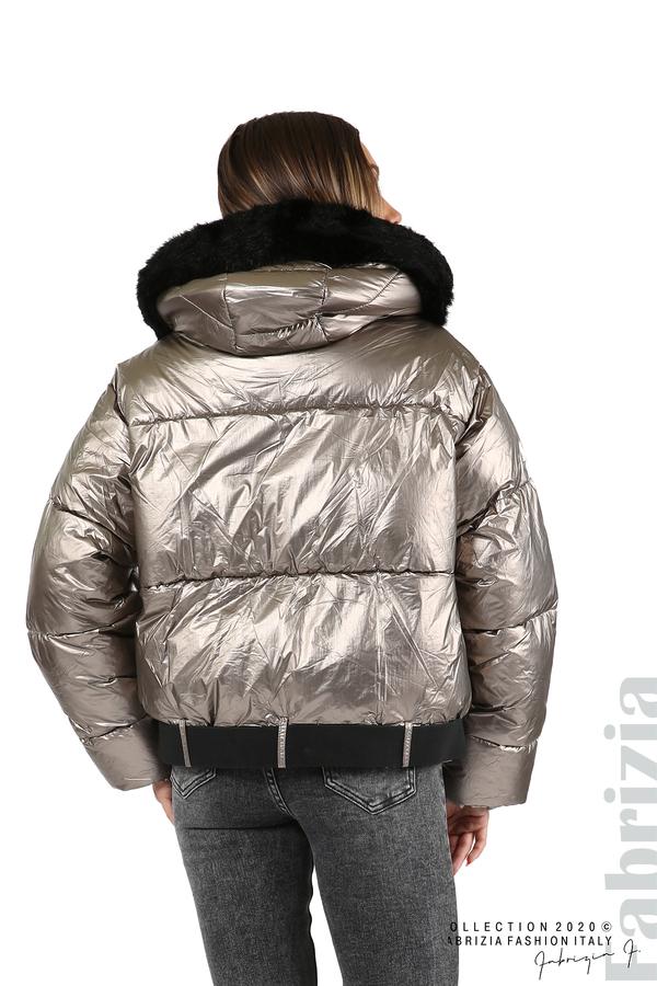 Лъскаво яке с качулка бронз 10 fabrizia