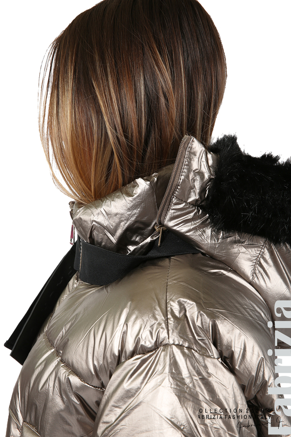 Лъскаво яке с качулка бронз 3 fabrizia