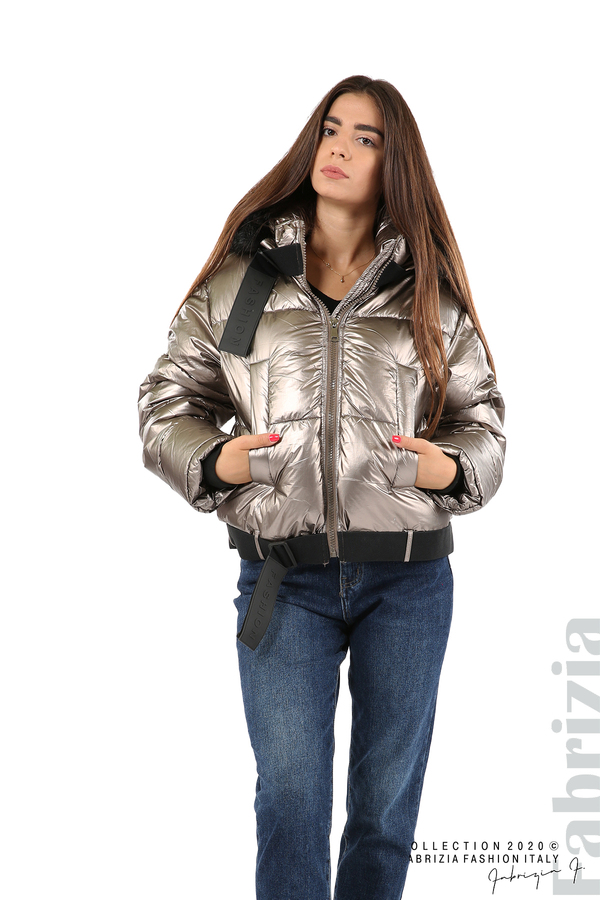 Лъскаво яке с качулка бронз 8 fabrizia