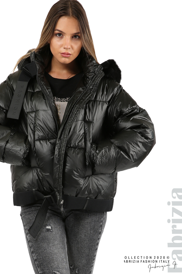 Лъскаво яке с качулка черен 2 fabrizia