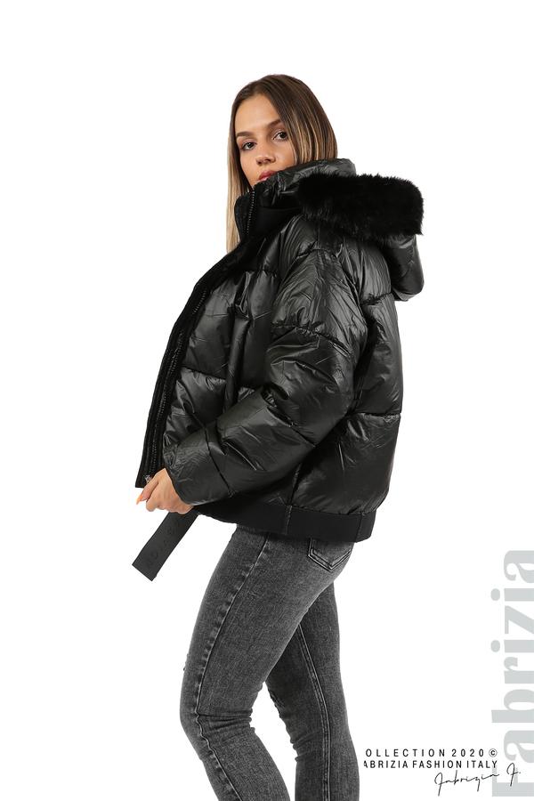 Лъскаво яке с качулка черен 4 fabrizia