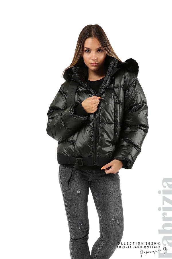 Лъскаво яке с качулка черен 6 fabrizia