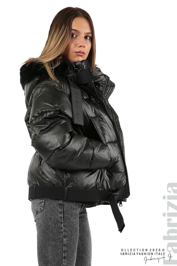 Лъскаво яке с качулка черен 3 fabrizia