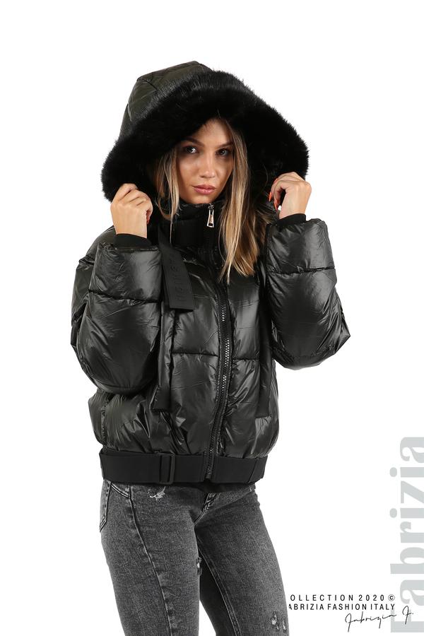 Лъскаво яке с качулка черен 7 fabrizia