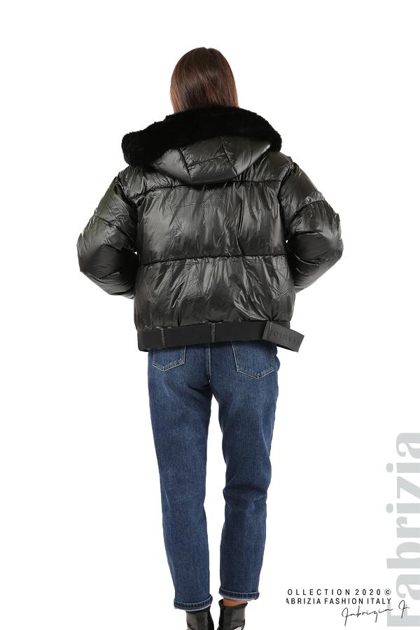 Лъскаво яке с качулка черен 10 fabrizia