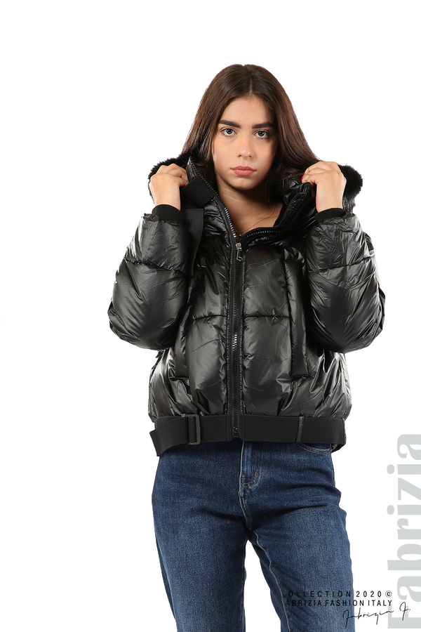 Лъскаво яке с качулка черен 1 fabrizia