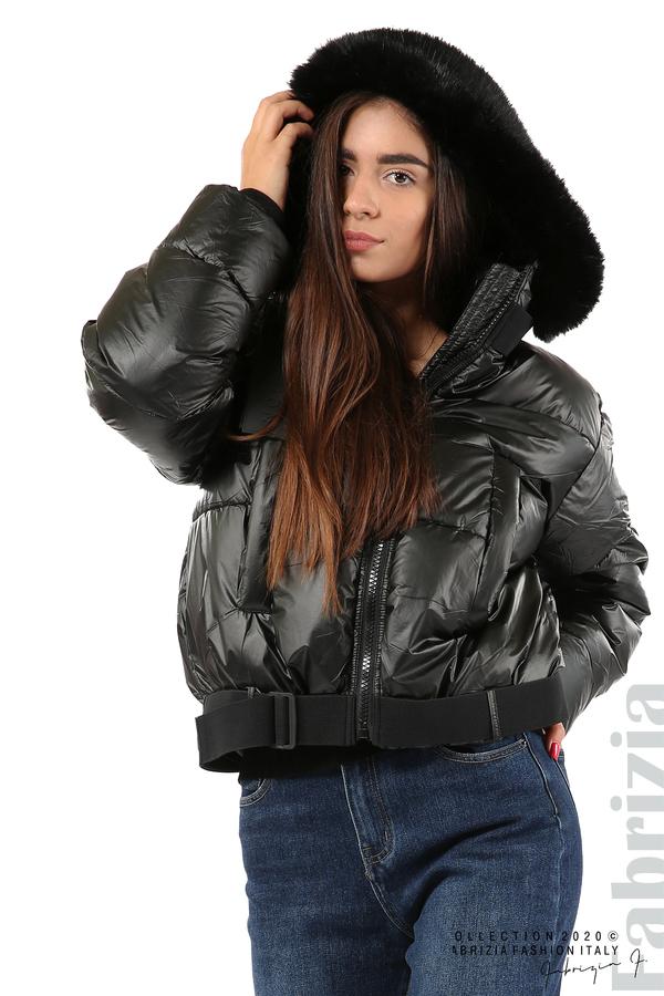 Лъскаво яке с качулка черен 9 fabrizia