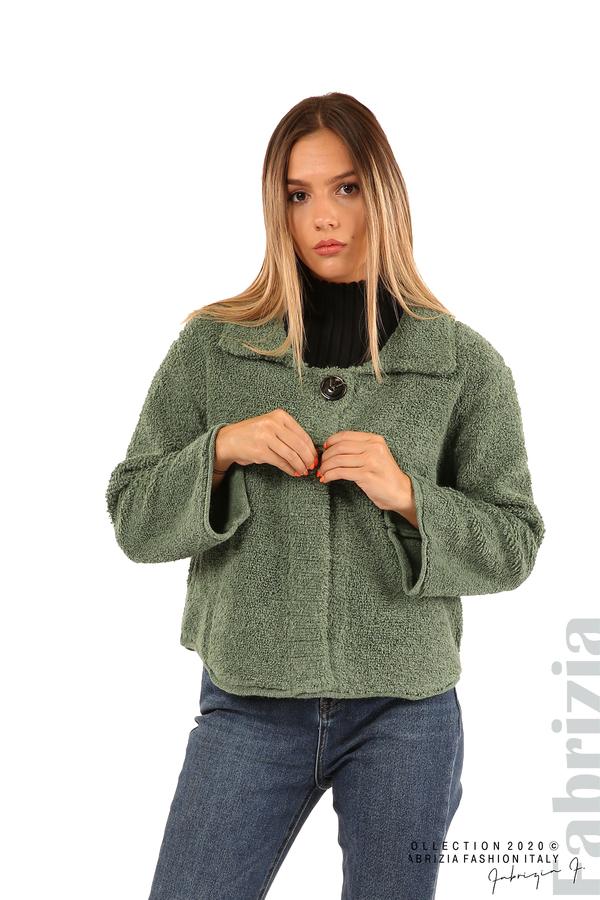 Едноцветна жилетка с копчета и яка-зелен-1