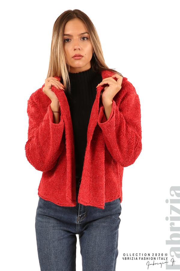 Едноцветна жилетка с копчета и яка-червен-4