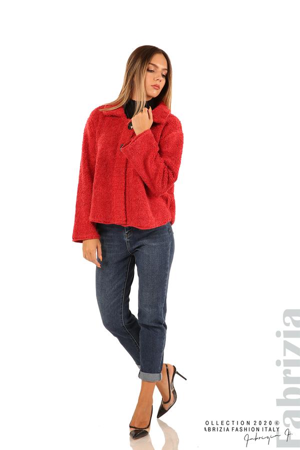 Едноцветна жилетка с копчета и яка-червен-3