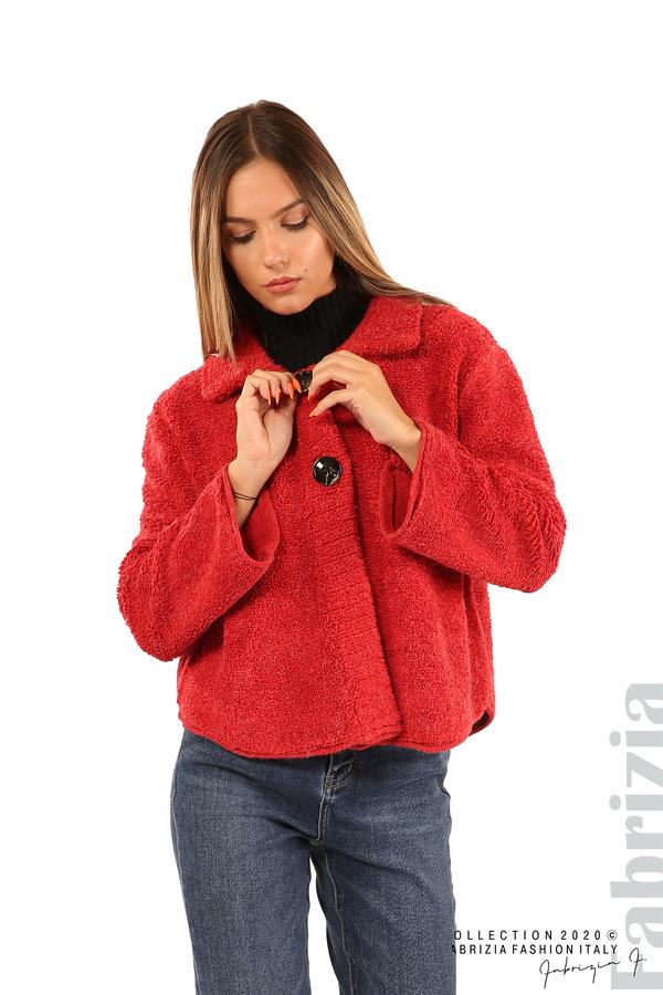 Едноцветна жилетка с копчета и яка-червен-1