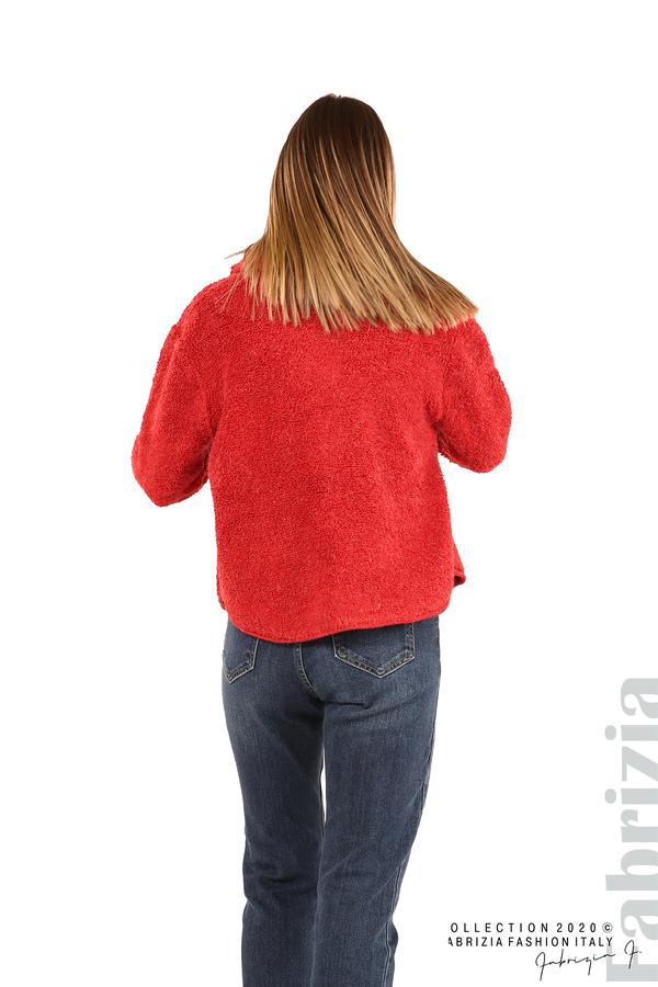 Едноцветна жилетка с копчета и яка-червен-6