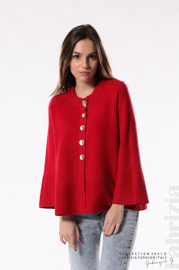 Едноцветна жилетка с копчета-mix червен 3 fabrizia
